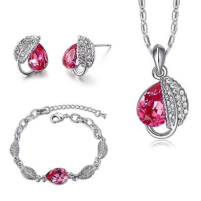 7170bdb18468 MONDAYNOON Juegos de Joyas Conjunto Mujer Collar Colgantes Pulsera  Pendientes Hoja Austríaco Cristales Regalo Set para