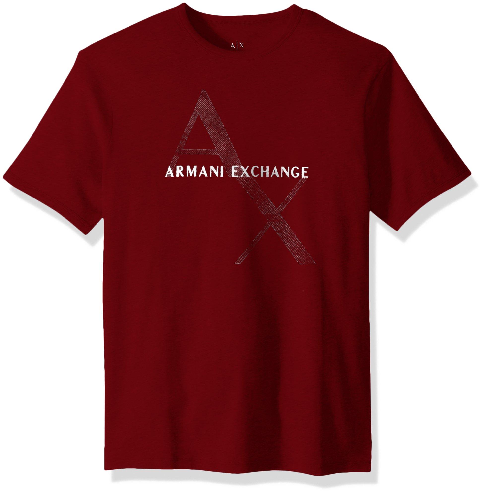 A|X Armani Exchange Men's Classic Cotton Logo Tee, Rhubarb, S