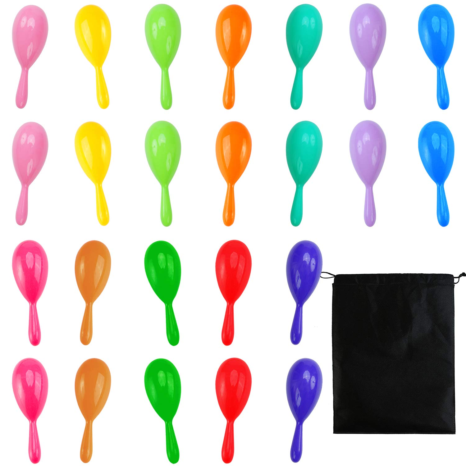 Resinta 24 Pieces 12 Colors Neon Maracas Shakers Mini Noisemaker Bulk Colorful Noise Maker Drawstring Bag Mexican Fiesta Party Favors Classroom Musical Instrument, 4 Inch
