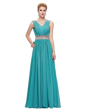 Damen Kleider Bodenlang Abendkleid Prom kleid Chiffon Tuerkis Datum ...