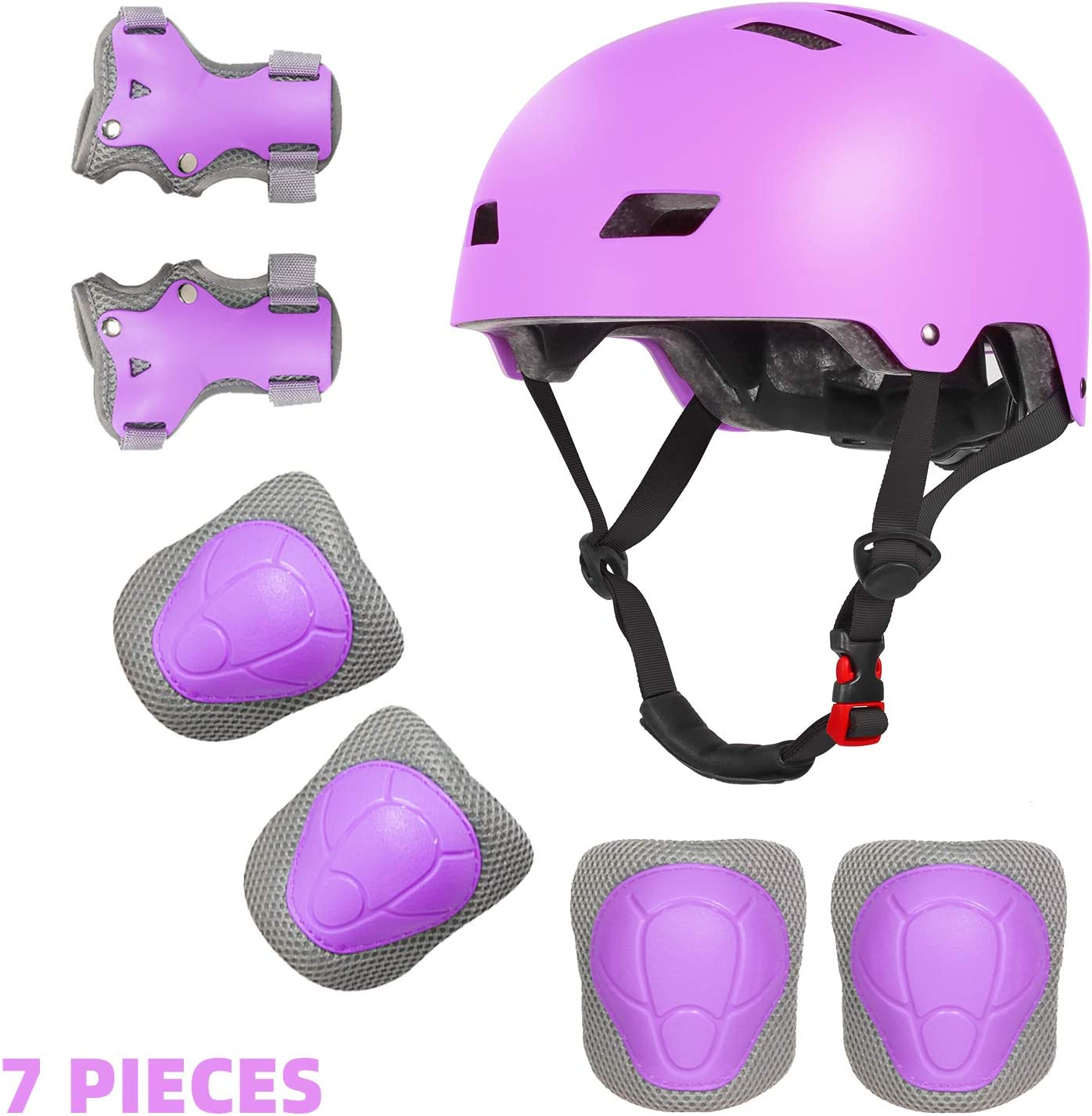 EXZ Kids Bike Helmet Knee Elbow Wrist Pads 2-8 Years Toddler to Youth for Bike Skateboarding Roller Blading Scooter Riding Bicycling Roller Skating and More