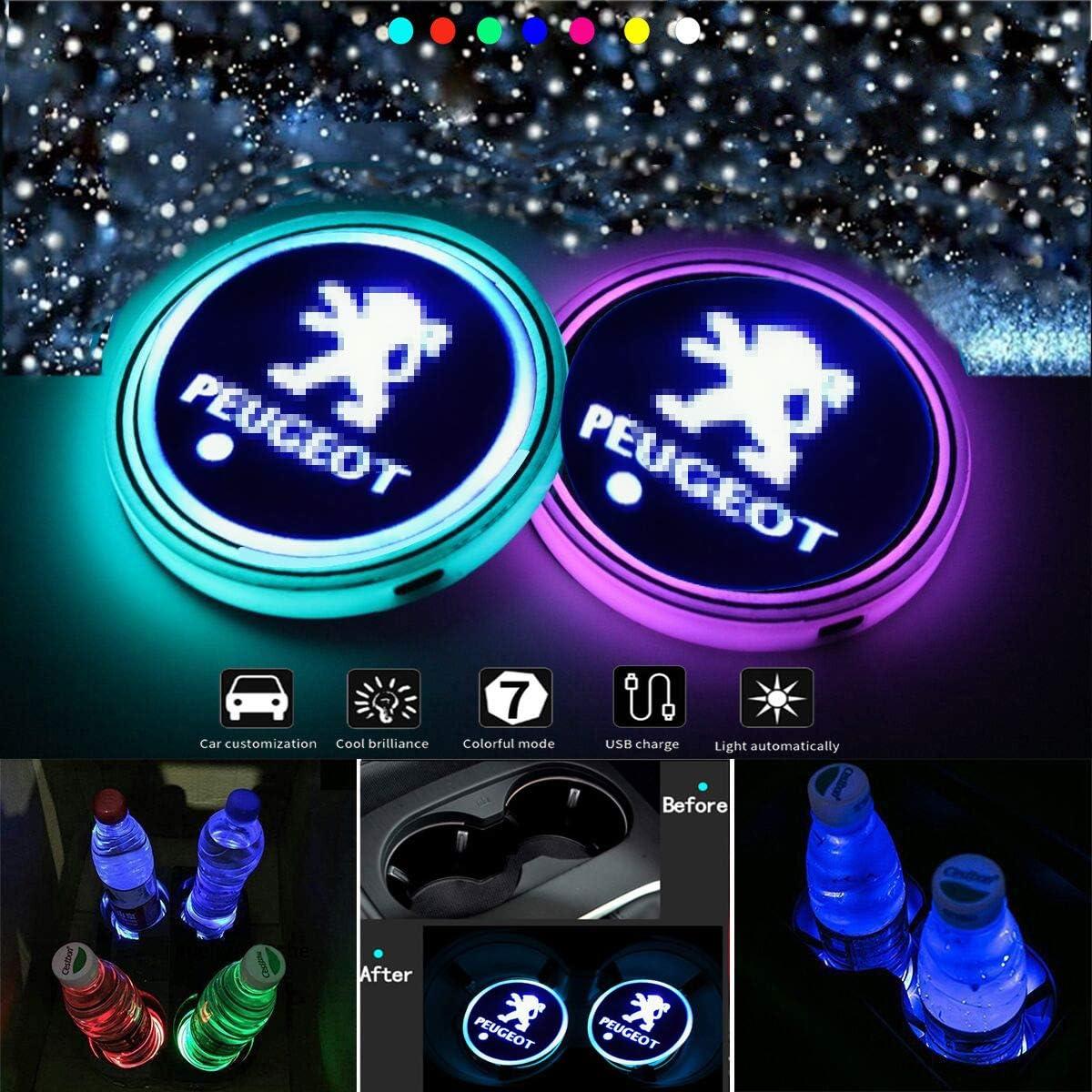 VILLSION Porte-gobelet LED Voiture Porte-Tasse /étanche 7 Couleurs USB l/éger Chargeur Porte-Boisson pour Voiture LED d/écoration int/érieure lumi/ère Lampe atmosph/ère