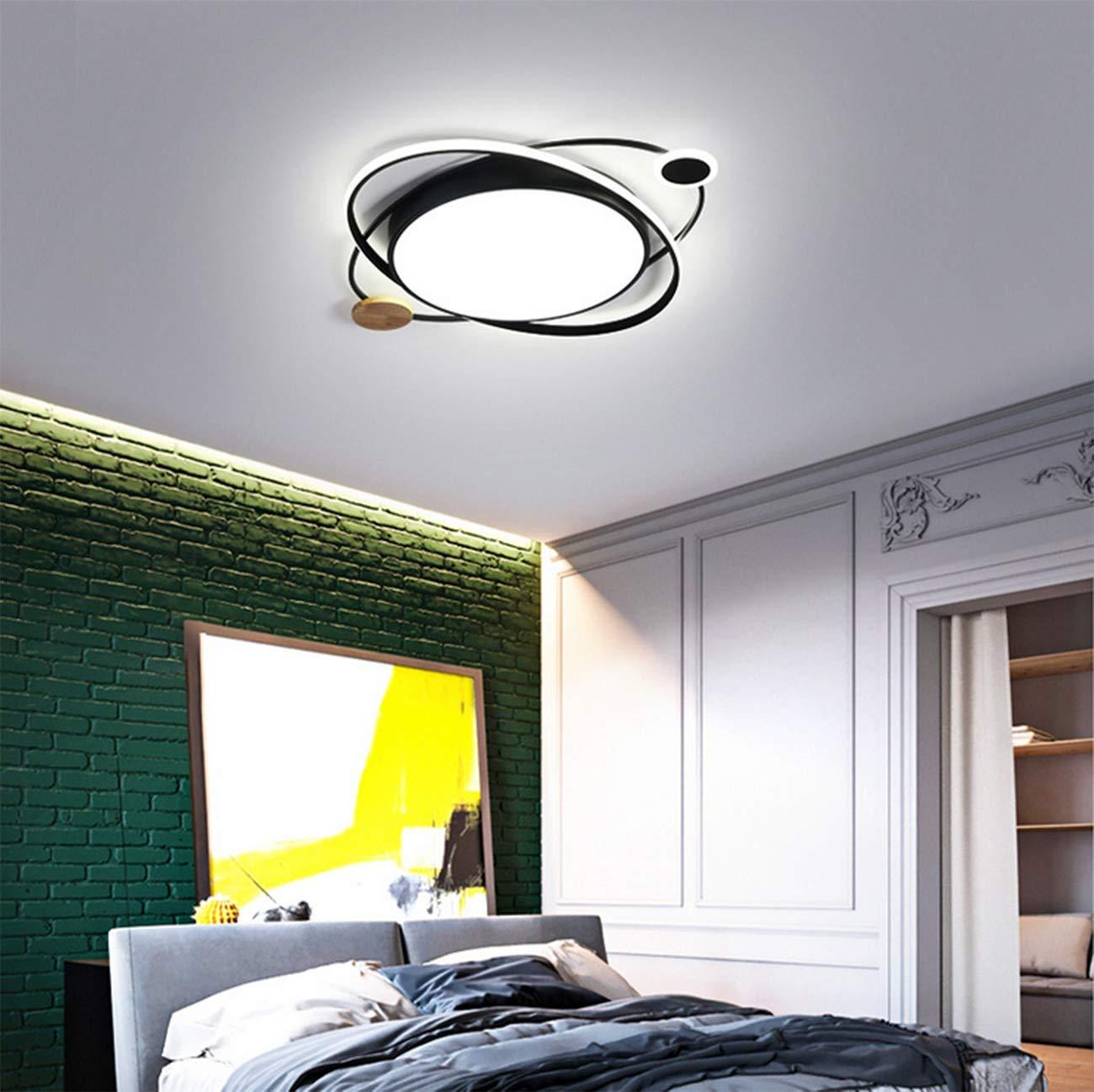 27W 52 * 6CM Luz c/álida, Verde L/ámpara de dormitorio LED L/ámpar de techo en forma de redondo como planeta l/ámpara de cocina