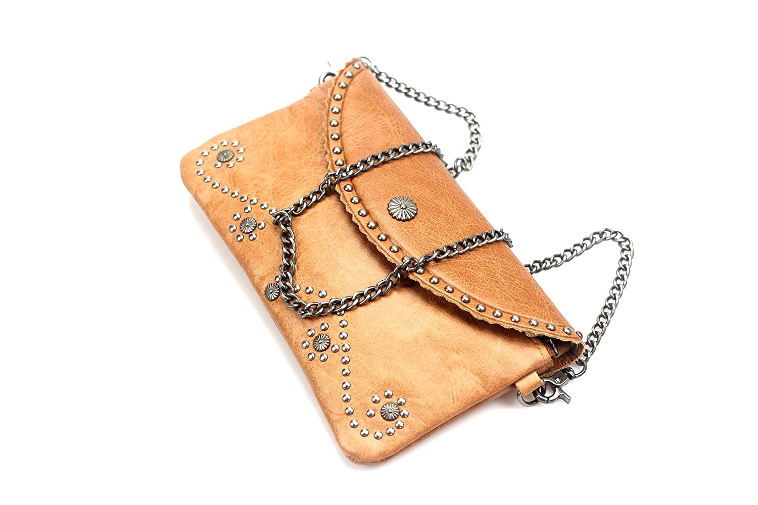 MANQINGR mini womens genuine cow leather rivet shoulder cross body Envelope cellphone bag
