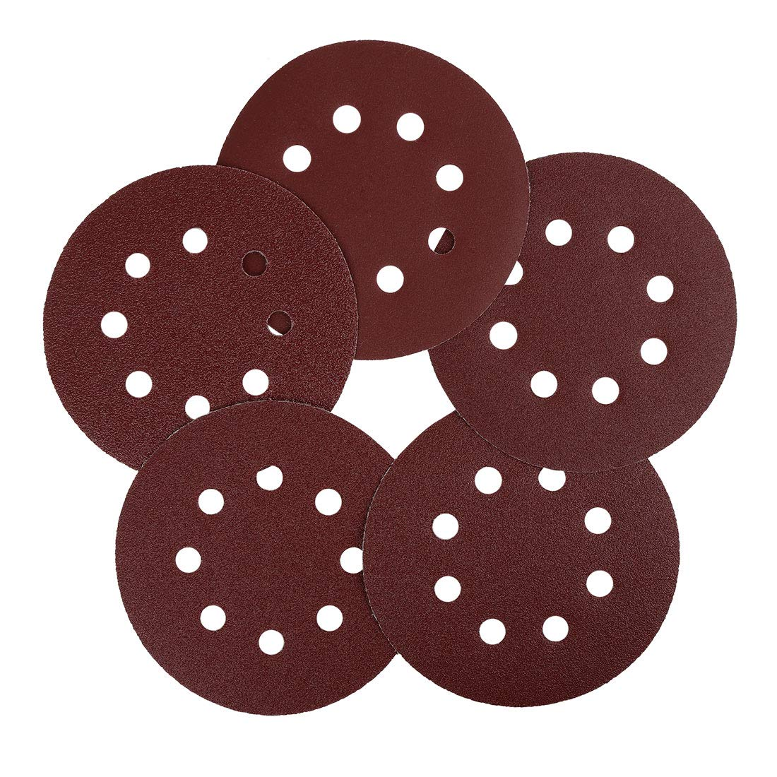 uxcell 100 Pcs 5 Inch 8 Hole Hook and Loop Sanding Discs 60 80 100 120 240 Assorted Grits Sandpaper