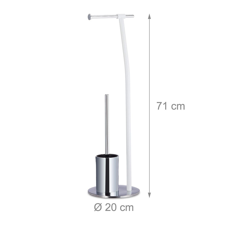 Relaxdays WC-Garnitur Stand, Toilettenpapierhalter, WC-Bürste, WC-Bürste, WC-Bürste, WC-Bürstenhalter, hygienisch, HBT 71x20x20cm, weiß Chrom B07KX1WV5S Toilettenpapieraufbewahrung 79d74e