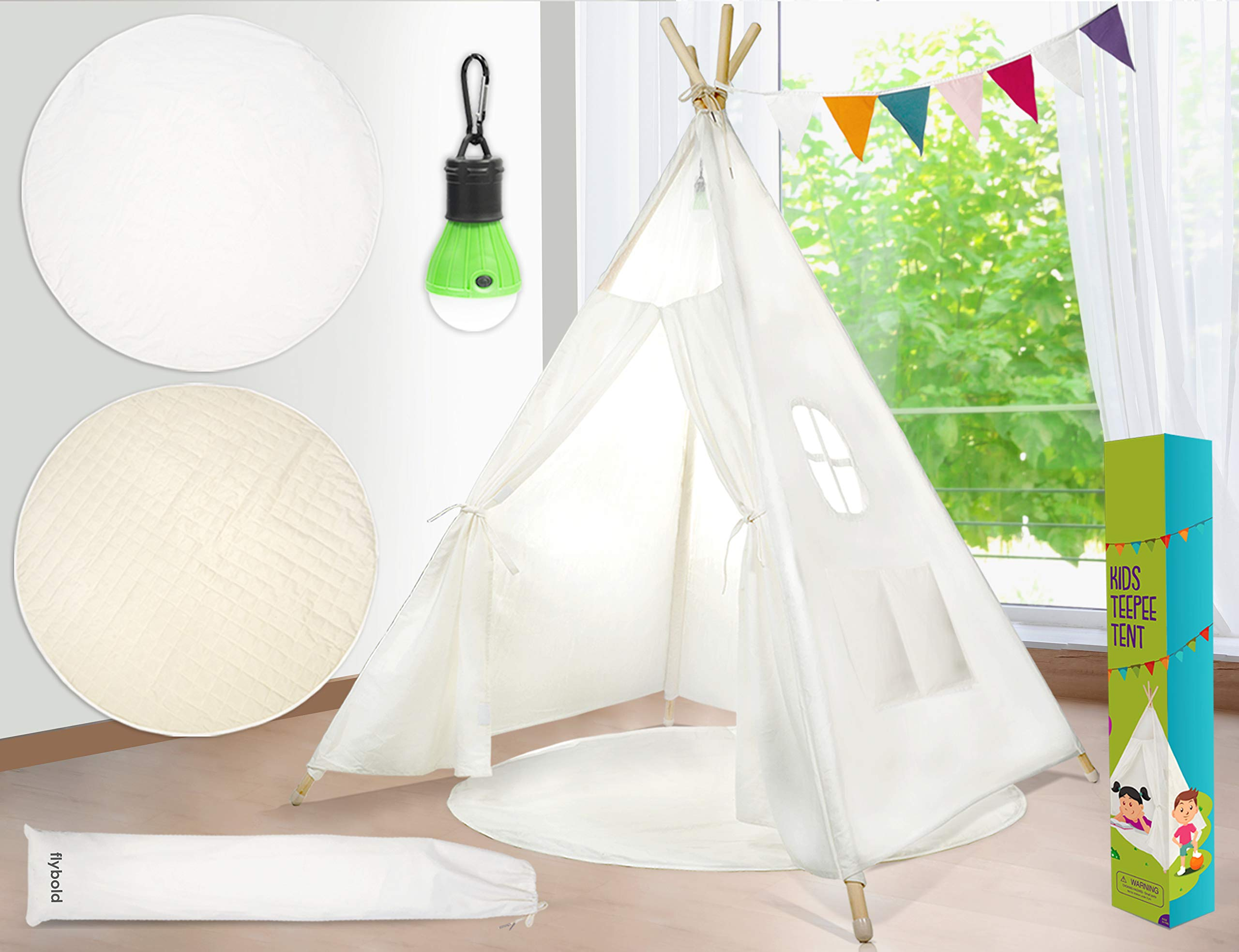 Kids Teepee Tent Children Play Tent 5 ft Raw White Cotton Canvas Four Wooden Poles Thick Cushion Mat LED Light Banner Carry Case Indoor Outdoor Playhouse for Girls and Boys Childrens Room Decor by flybold (Image #1)