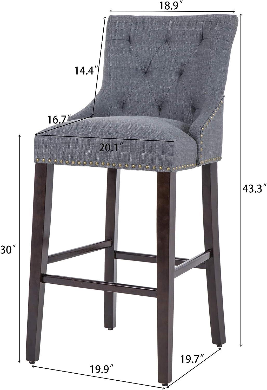 Nobpeint 30 Inch Bar Stools With Polished Nailhead Wood Legs In Gray Furniture Decor Amazon Com