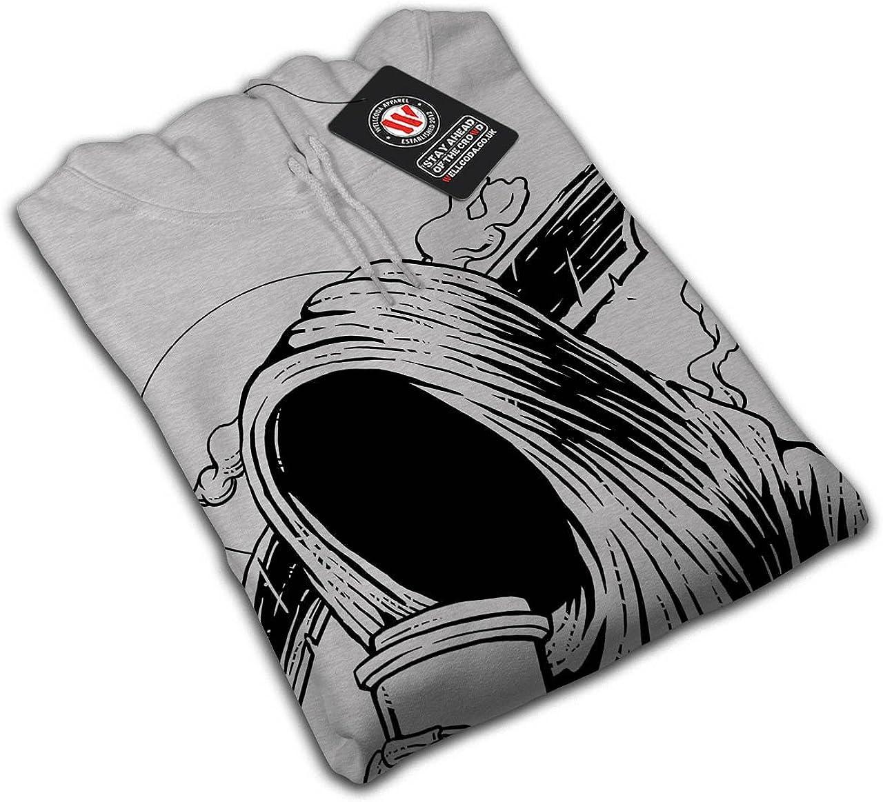 Denim Hooded Sweatshirt Wellcoda Grim Reaper Coffee Horror Mens Hoodie