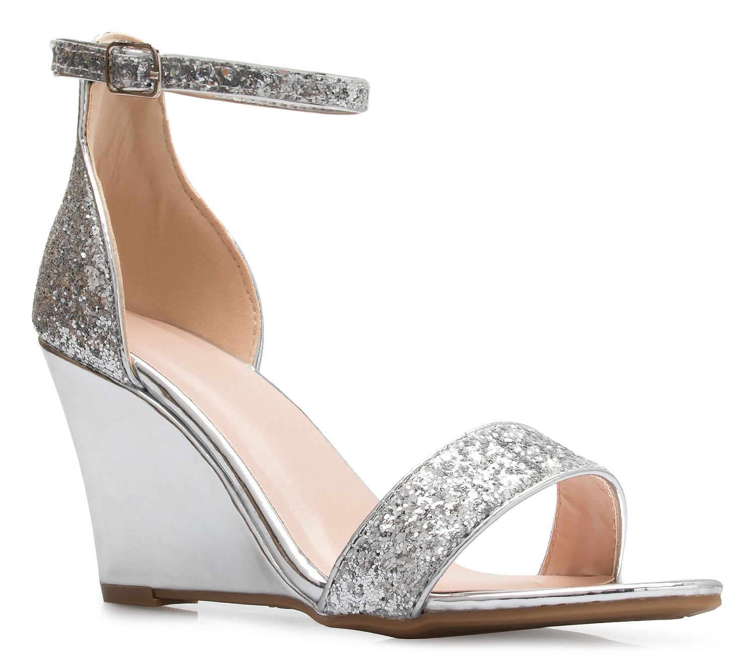 OLIVIA K Womens Ankle Strap Wedge Heel Sandals - Adorable Glitter Open Toe - Casual, Classic, Comportable