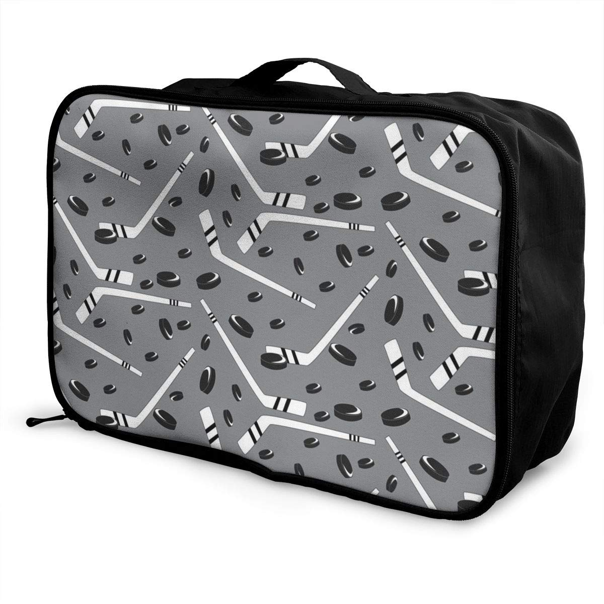 Travel Duffel Bag Waterproof Fashion Lightweight Large Capacity Portable Luggage Bag Grey Hockey