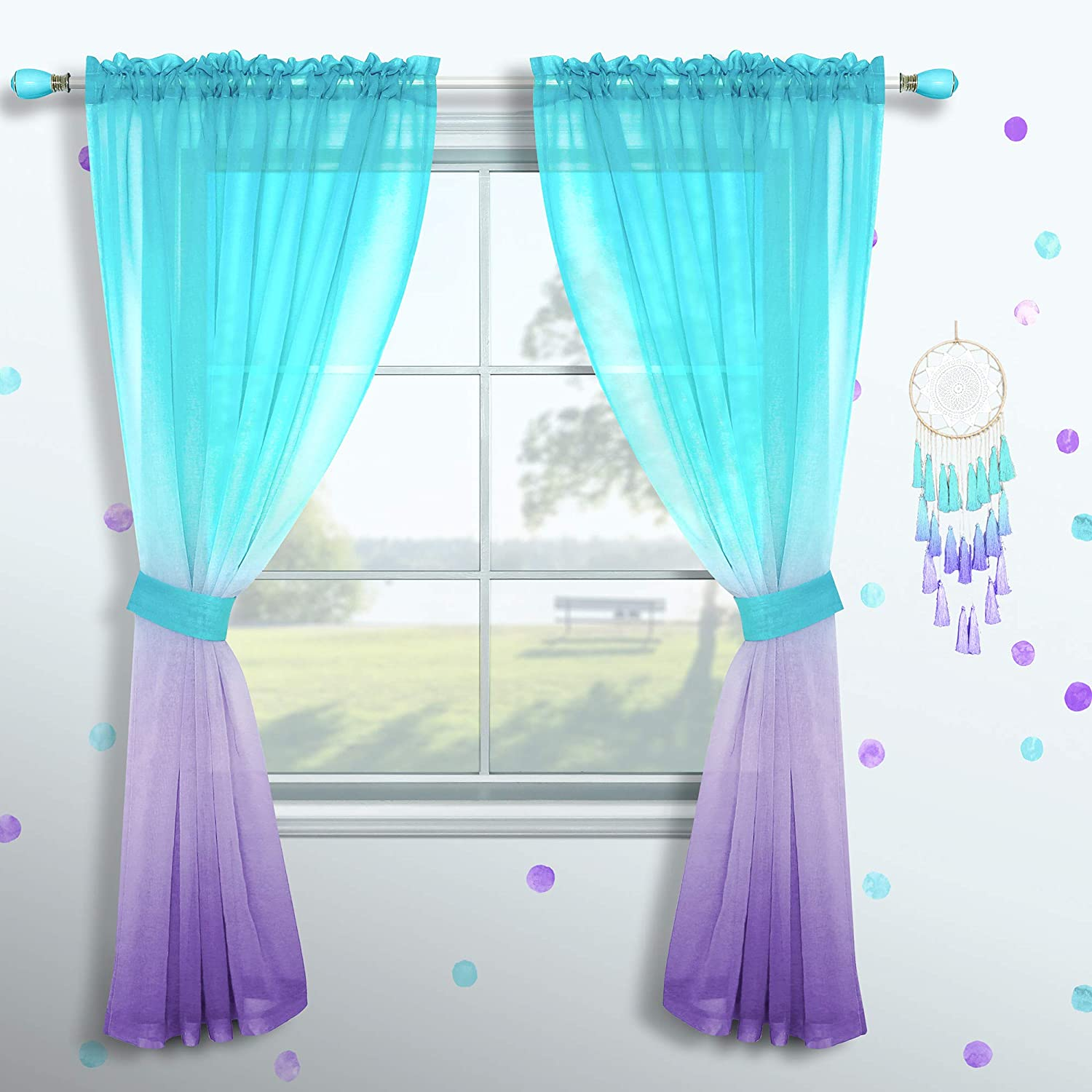 Amazon Com Girls Curtains For Bedroom Decor Single Curtain Panel Pole Pocket Window Sheer Drapes Pastel Teal Purple Ombre Curtains For Kids Room Teen Princess Decorations Set Lilac Turquoise 52 X 63 Inch,Kitchenaid Dishwasher Inside