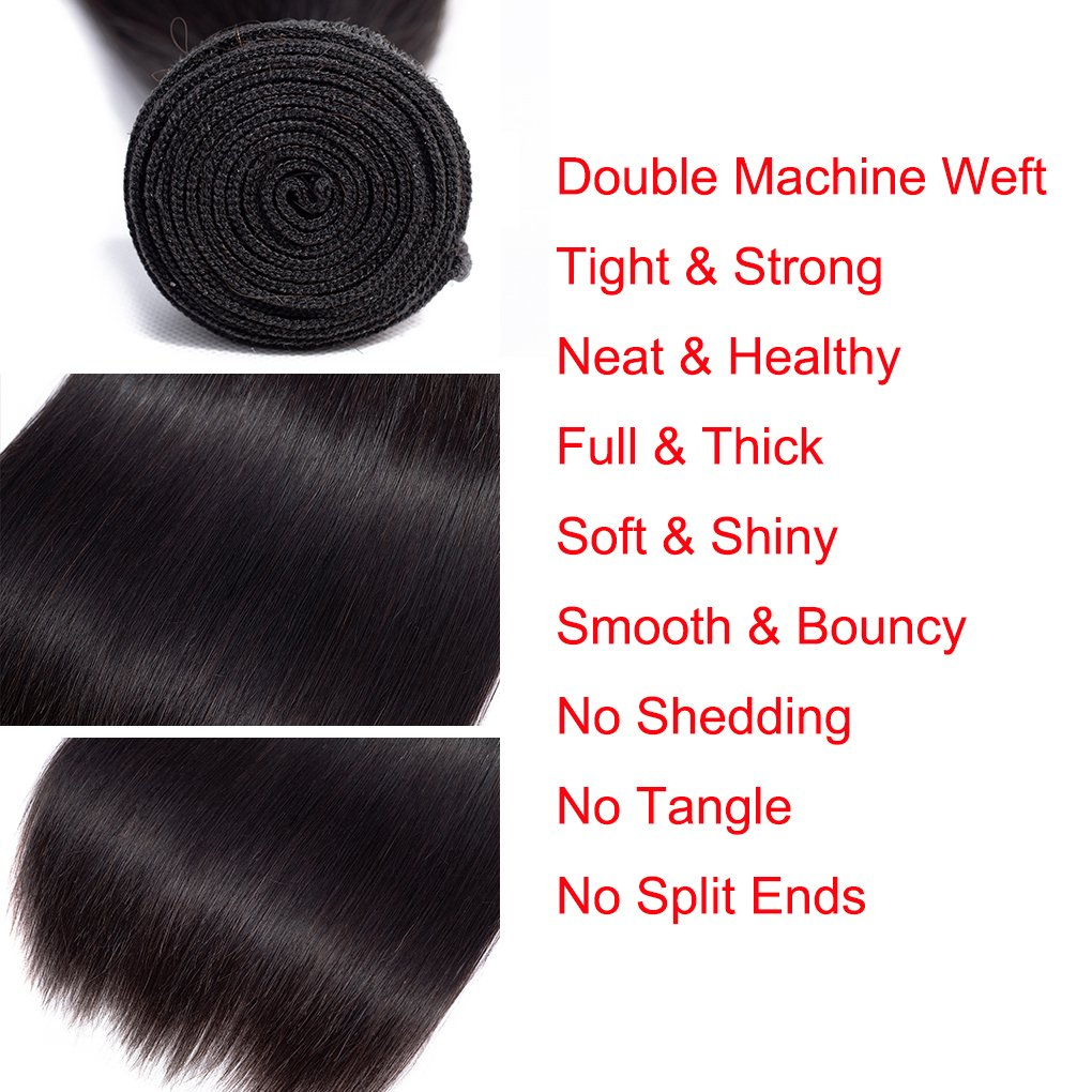 Anknia Mink Brazilian Straight Hair 3 Bundles Deals 100% Unprocessed Virgin Remy Human Hair Bundles Weave Hair Extensions Natural Color 24 26 28 Inches Total 300g by Anknia (Image #3)