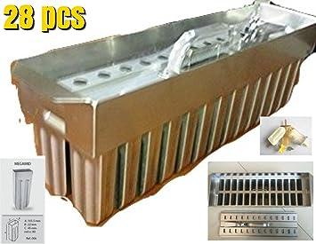 28pcs moldes de acero inoxidable para Popsicles helados Ice Lolly Hielo Crema Cop bares Stick Soporte