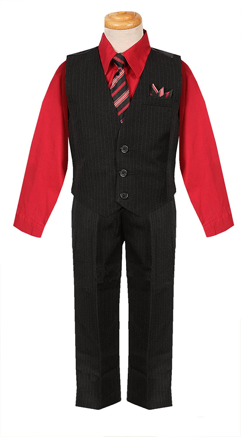 Rafael Classic Cut Black/red Boys Formal Suit with Matching Tie and Redshirt