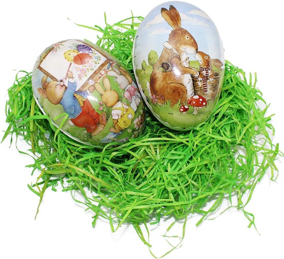 com-four/® Set di Decorazioni pasquali in 8 Pezzi con Uova di Pasqua per Il ripieno Erba Pasquale e Colori delle Uova 08 Pezzi - 9,5 cm la Scelta del Motivo Varia!