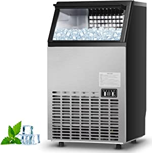 Costzon Commercial Ice Maker, Built-In Stainless Steel Ice Maker, 110LBS/24H, 33LBS Storage Capacity, Free-Standing Design for Party Gathering, Restaurant, Bar, Coffee Shop w/Ice Shovel, Hose (Silver)