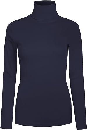 Brody & Co - Camiseta de manga larga y cuello alto para mujer ...