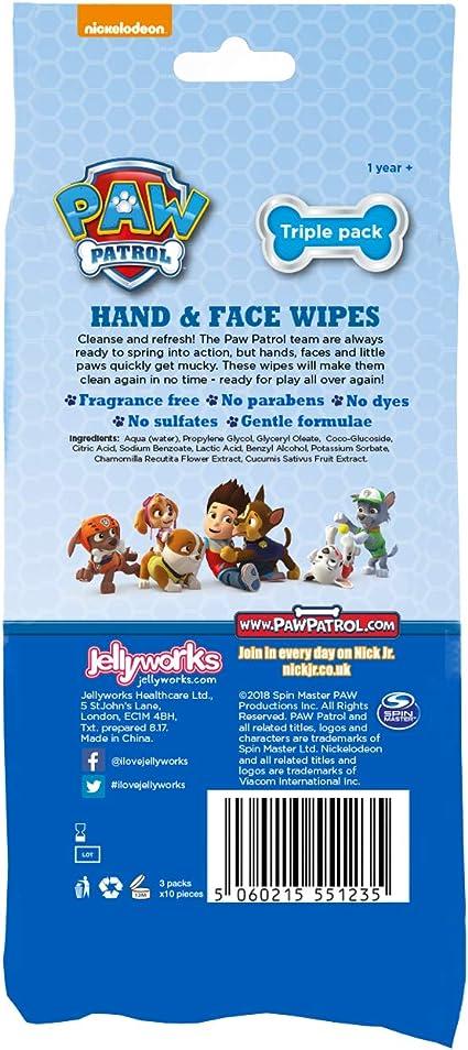 Jellyworks Paw Patrol Hand /& Face Lingettes Triple 240 Unit/és