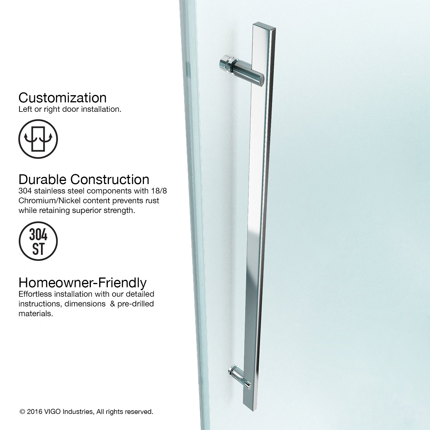 VIGO Luca 56 to 60-in. Frameless Sliding Shower Door with .375-in. Clear Glass and Chrome Hardware by Vigo (Image #2)