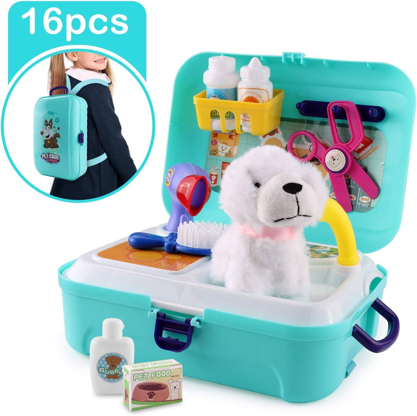 Satkago Maletín Veterinaria Perritos de medicos Juguetes, 16 pcs Dog Puppy Grooming Toys Kit de Juego de simulación Playset con Mochila Estuche de Juguete para niños pequeños Niños: Amazon.es: Juguetes y juegos