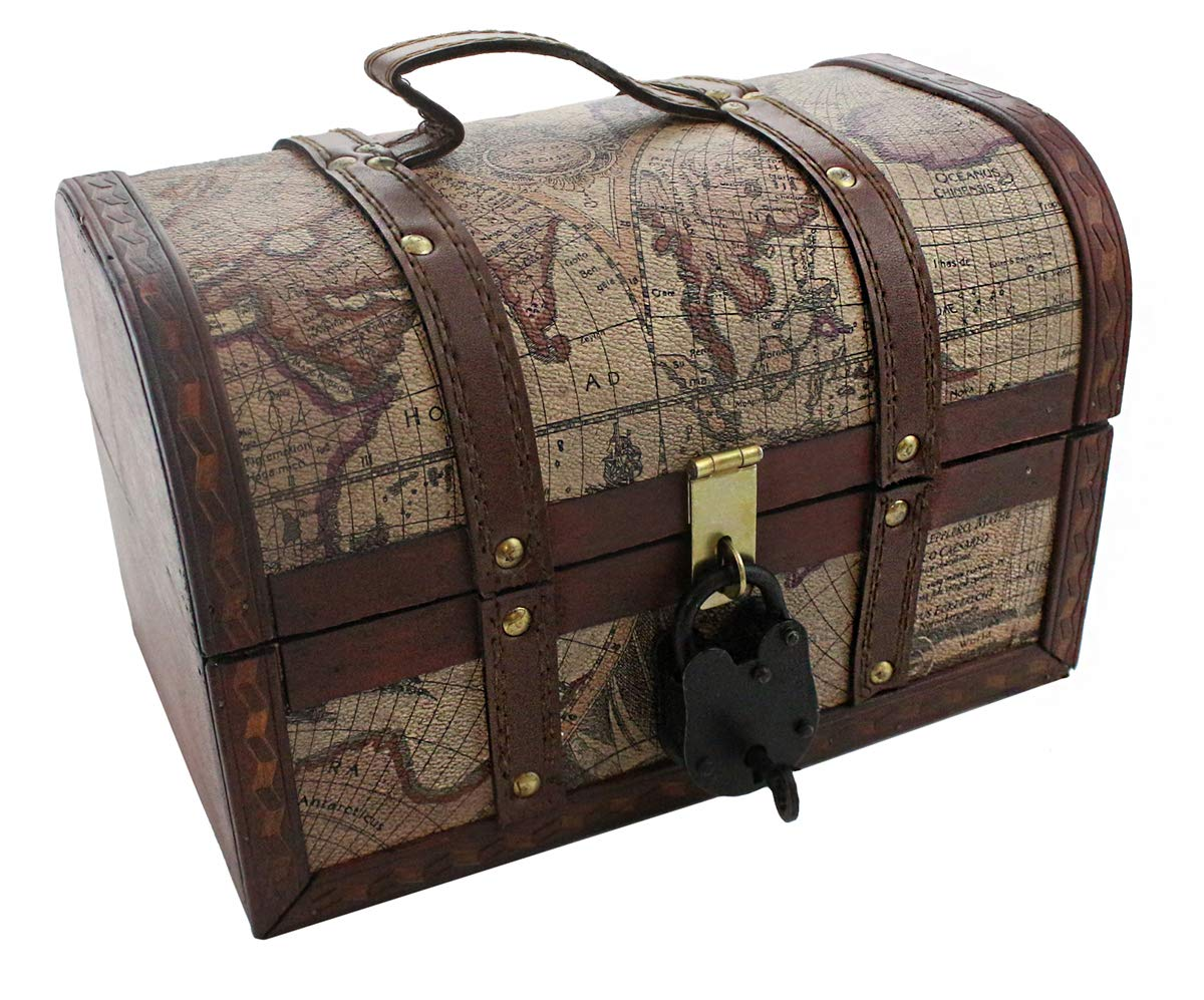 Vintage Map Pattern Storage Trunk 11x 7x 7 With Lock Pirate Treasure Chest Antique Style By Well Pack Box (Medium) by Well Pack Box