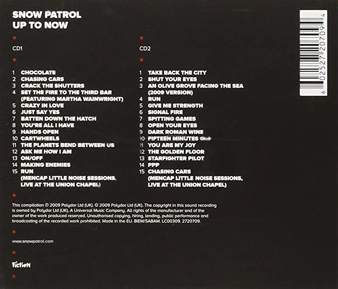 Up To Now The Best Of Snow Patrol By Snow Patrol Amazon Co Uk Music