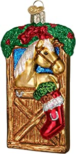 Old World Christmas Selection Glass Blown Ornaments for Christmas Tree Horse in Stall, Brown/Tan/Red/Green