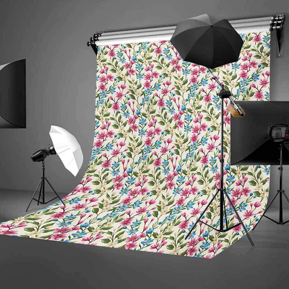 6.5x10 FT Backdrop Photographers,Shabby Chic Floral Buds Leaves Ivy Like Gardening Theme Design Artwork Print Background for Baby Shower Birthday Wedding Bridal Shower Party Decoration Photo Studio