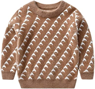 Gihuo Unisex Boys Girls Chenille Crewneck Geometry Pattern Pullover Comfy Sweater
