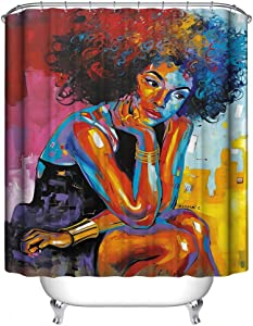 KINBEDY African American 3D Retro Style Colorful Print Waterproof Polyester Shower Curtain with 12 Hooks for Bathroom Decor,72 x 72 inches Afro Girl.