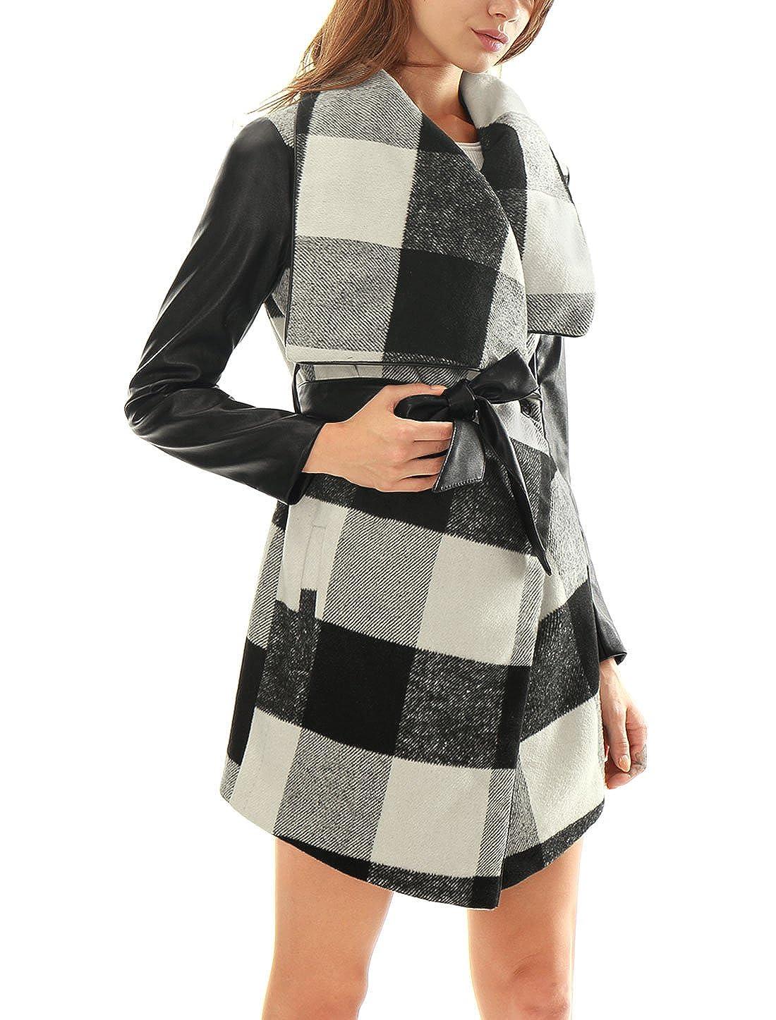 Allegra K Women's Plaids PU Panel Turn Down Collar Belted Coat Black M a16071800ux0562