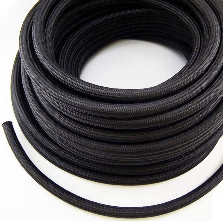 Nylon Fuel Line Hose Oil Line Hose Gas Line 10FEET (Black, AN-6)