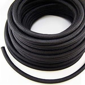 Nylon Fuel Line Hose Oil Line Hose Gas Line 10FEET (Black, AN-6)