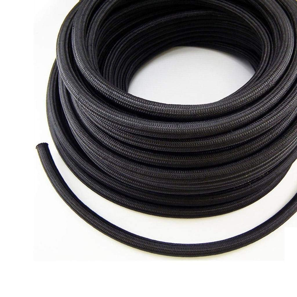 AN6 Fuel Line Hose End Fittings Kit 6AN Nylon Stainless Steel Braid Black 3//8 x 20Ft 8.73mm ID