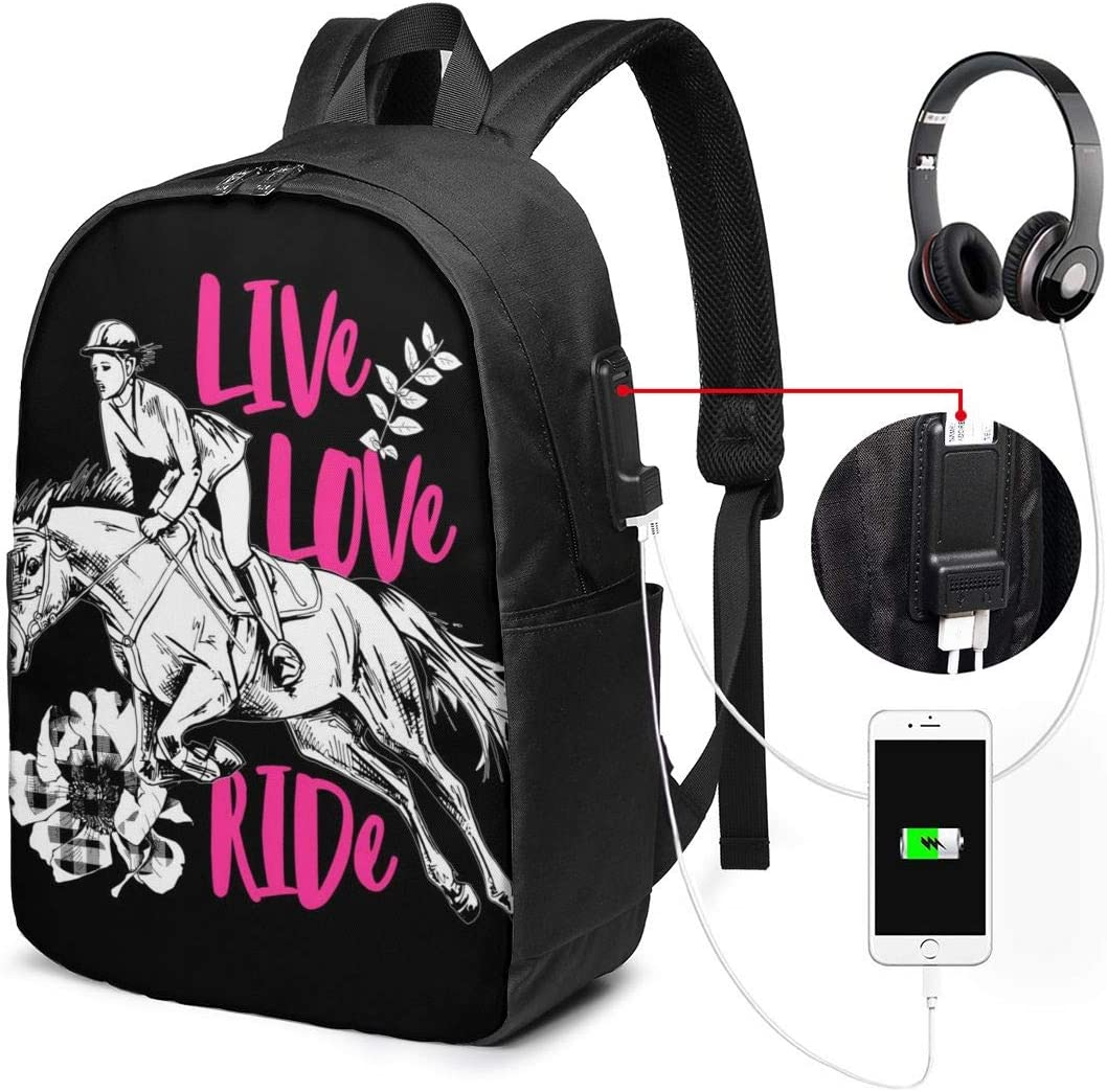 Ride Laptop Backpack 17 Inch Business Travel Backpacks for Men Women Extra Large College School Bookbags with USB Charging Port Black Mens and Womens Casual Hiking Love Life