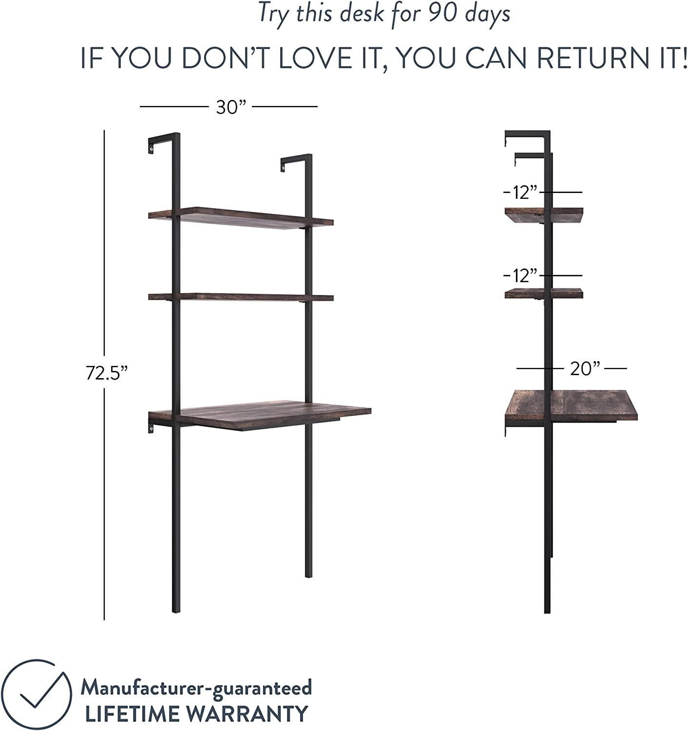 Rustic Oak//White Small Computer or Writing Desk Nathan James 55502 Theo 2-Shelf Industrial Wall Mount Ladder Desk