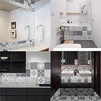 KURL-T 24pcs Retro Pattern Wall Floor Tiles Stickers PVC Bathroom Kitchen Waterproof Wall Stickers Home Decor TV Sofa…