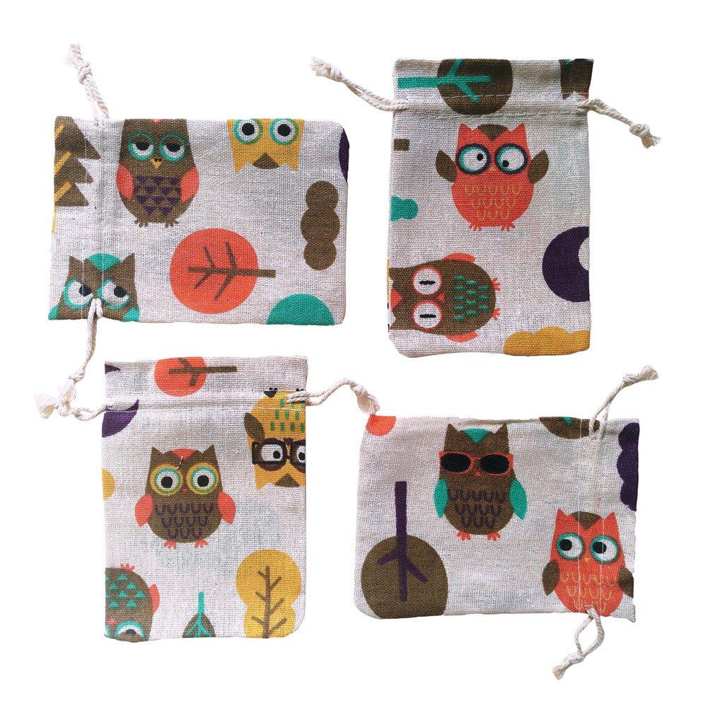 12Pcs Natural Burlap Gift Bag Animal Cotton Linen Christmas Candy Pouch Wedding Sacks-Owl
