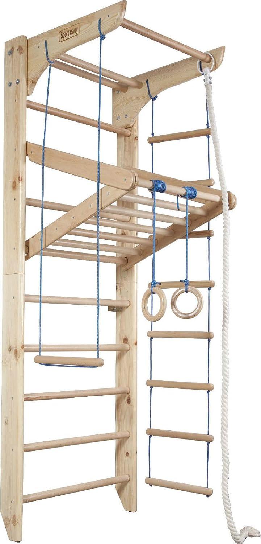 Barras de pared madera sueco escalera niños gimnasio en casa, gimnasia deporte complejo 220 cmx80cmx65 cm complejo con – Anillas de gimnasia, escalera de cuerda, cuerda de escalada, Swing, barra horizontal: Amazon.es: