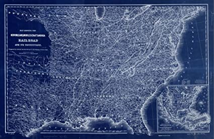 Amazon vintography 8 x 10 blueprint style reprint 1865 map vintography 8 x 10 blueprint style reprint 1865 map showing the new orleans mobile malvernweather Images