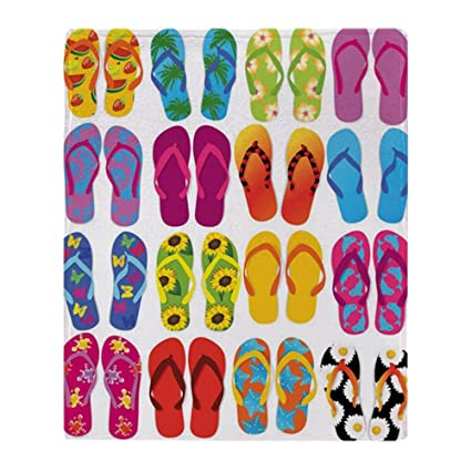 876b663d0b6 Amazon.com  CafePress Colorful-Flip-Flops-Vector-Set Soft Fleece ...