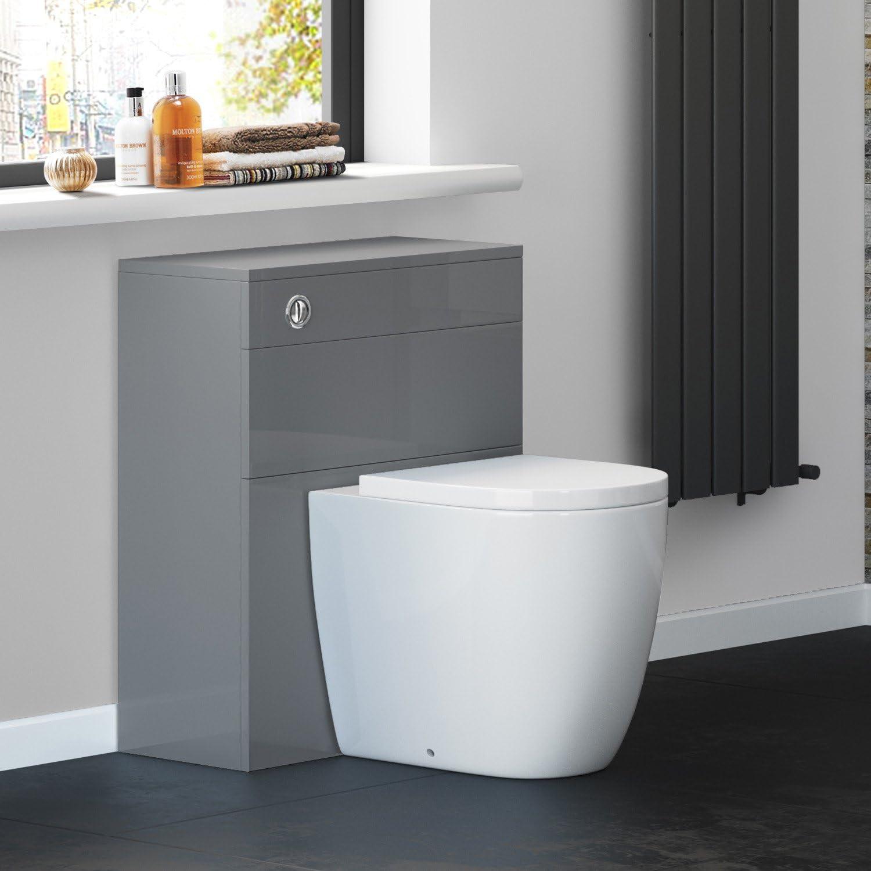 600 Mm Gloss Grey Back To Wall Toilet Unit Wc Cabinet Bathroom Furniture Ibathuk Amazon Co Uk Kitchen Home