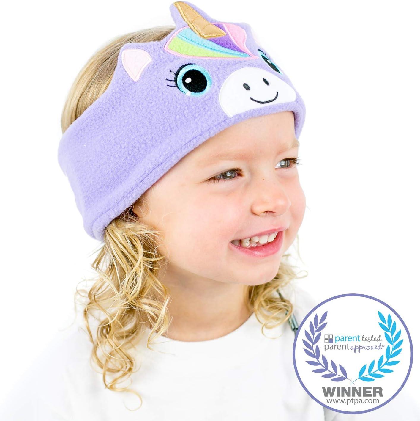 CozyPhones Kids Headphones Volume Limited with Ultra-Thin Speakers Soft Fleece Headband - Perfect Children's Earphones for Home and Travel - Purple Rainbow Unicorn