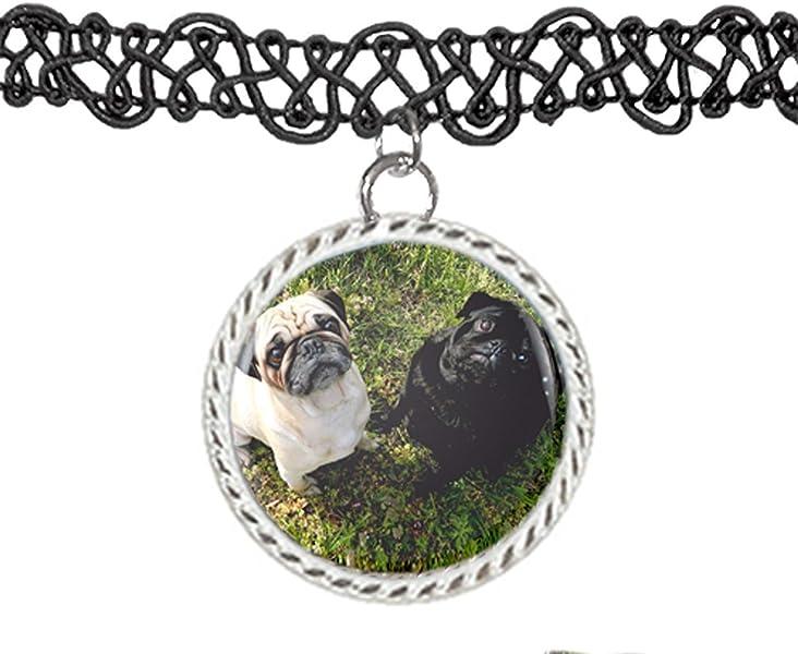 Pug Cachorro de perro Collar de gargantilla de colgante encanto