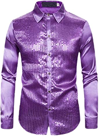 BingSai - Camisa de Manga Larga con Lentejuelas Brillantes para Hombre Morado Morado (US L: Amazon.es: Ropa y accesorios