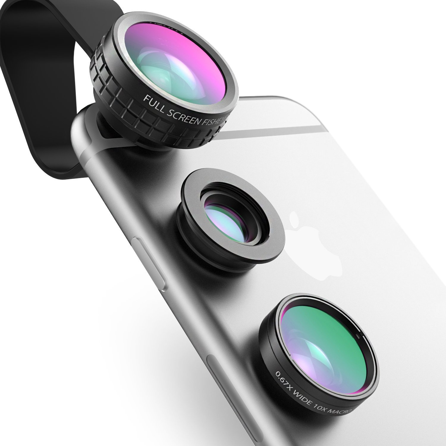 AUKEY Phone Camera Lens Kit 3 in 1 Clip On 180°Fisheye Lens + 110°Wide Angle Lens + 10X Macro Lens for iPhone / iPad / Huawei / Sony / Samsung and Other Smartphone and Tablets