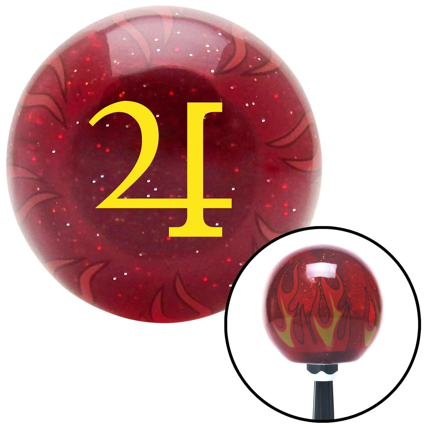 American Shifter 239748 Red Flame Metal Flake Shift Knob with M16 x 1.5 Insert Yellow Jupiter