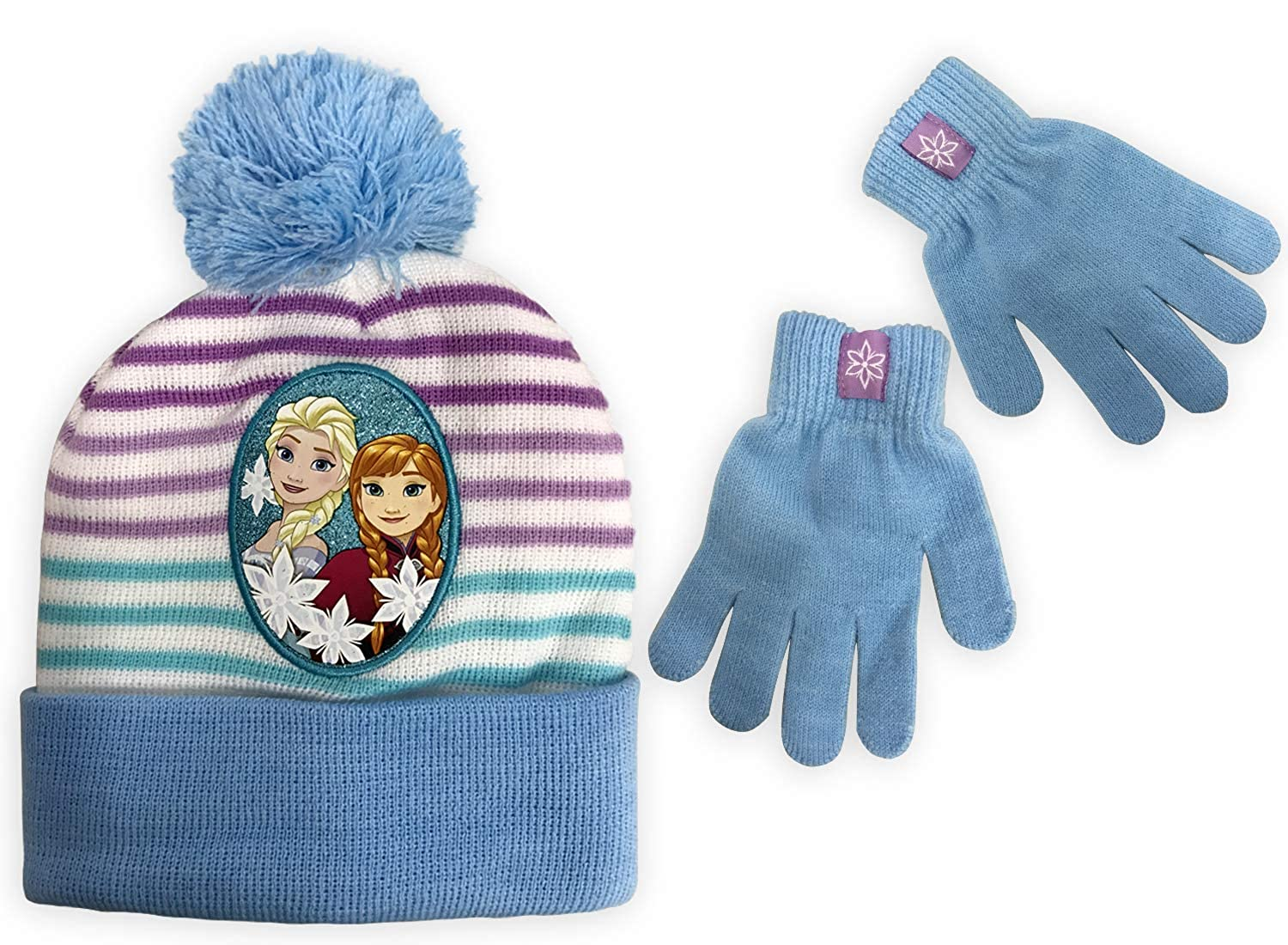 Disney Frozen Girls' Beanie & Gloves Set Featuring Anna & Elsa one Size