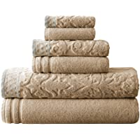 Amrapur Overseas 6-Piece Damask Jacquard/Solid Ultra Soft 550GSM 100% Combed Cotton Towel Set with Embellished Borders…